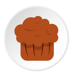 chocolate muffin icon circle vector image