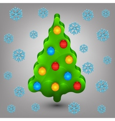 Christmas tree with toys snow vector