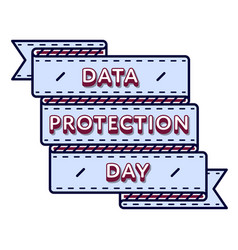 Data protection day greeting emblem vector