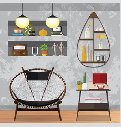 Decorated small living room vector