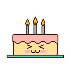 Delicious cake brithday with candles kawaii vector