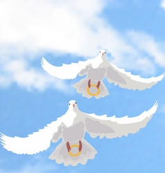 doves with rings vector image vector image
