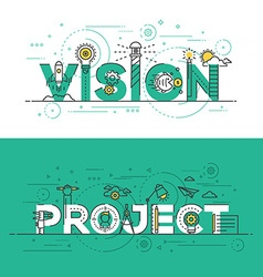 Flat design line concept banner Vision and Project vector image