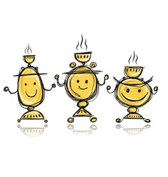 Funny samovars sketch for your design vector image vector image