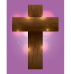 Glowing wooden cross vector