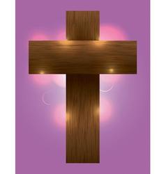 Glowing Wooden Cross vector image vector image