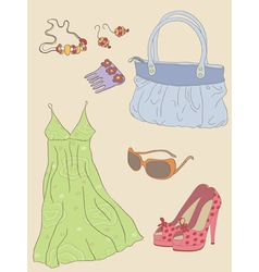 hand drawn fashion woman accessories vector image