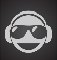 icon men dj in headphone and shutter shades vector image