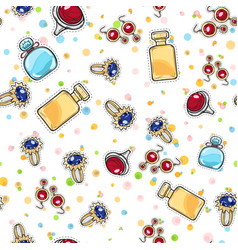 Jewelry for women elite perfume seamless pattern vector