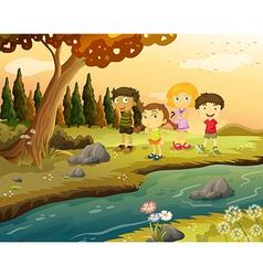 Kids at the riverbank vector image vector image