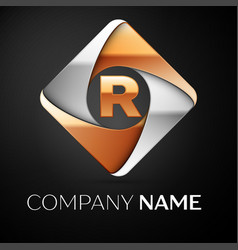 letter r logo symbol in the colorful rhombus on vector image