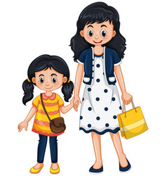 Mother and girl holding hands vector