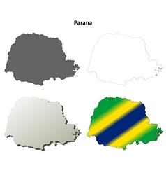 Parana blank outline map set vector