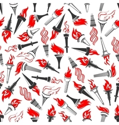 Seamless pattern of ancient greek flaming torches vector image