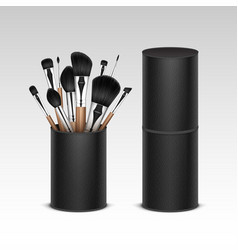 Set of concealer shadow brow brushes in tube vector