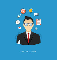Time management flat office man with icons vector