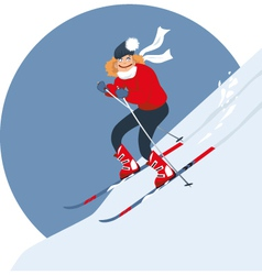 Woman alpine skiing vector