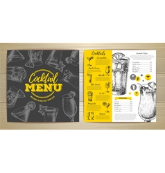 Vintage cocktail menu design vector