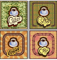 Banner card coffee on brown background retro vector