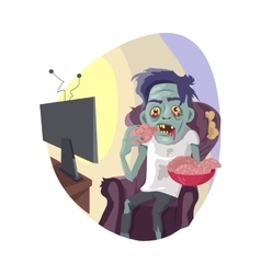 Zombie watching tv flat vector