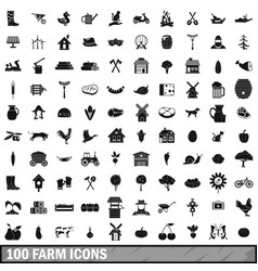 100 farm icons set in simple style vector