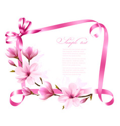Nature background with blossom branch of magnolia vector