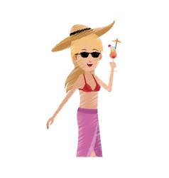 happy young woman cartoon icon image vector image