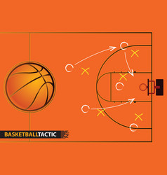 Showing a basketball court with arrows vector