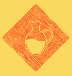 Amphora sign  red scribble icon obtained vector