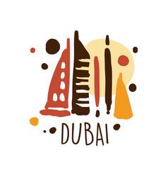 Dubai tourism logo template hand drawn vector