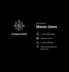 Black business card template strict clean style vector
