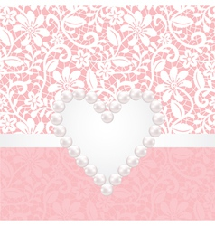 Lace background withpearl heart vector