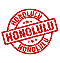 Honolulu red round grunge stamp vector