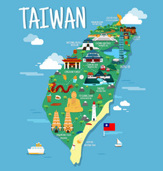 Taiwan map with colorfaul landmarks design vector