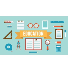 Flat set of equipment for education vector