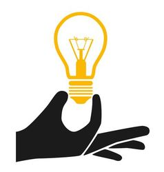 Hand with lightbulb vector