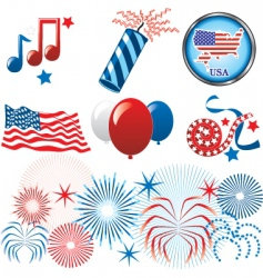 July 4th icons vector
