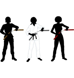 Nunchuck girl in uniform set of silhouettes vector
