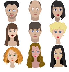 Set of portraits of people full face vector