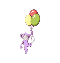 Monkey with balloons vector