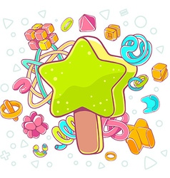 Colorful of green ice cream star on white ba vector