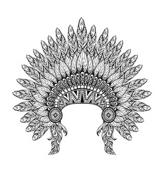 Hand drawn feathered war bonnet in zentangle style vector