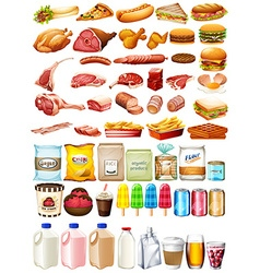 Different type of food and dessert vector