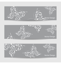 Set of three banners with paper butterflies vector image
