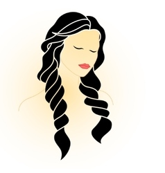 Beautiful woman with closed eyes and long hair vector