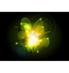 abstract flower orange green vector image vector image