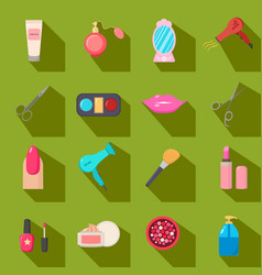 Beauty salon set of cartoon icons green vector