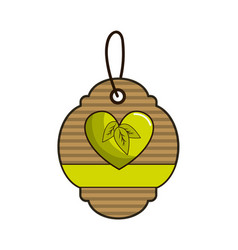 Brown label with heart with leaves and ribbon vector