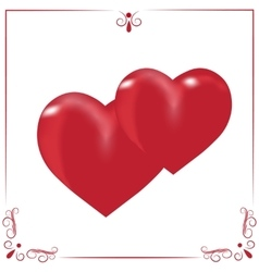 Card for valentine s day two hearts on a white vector
