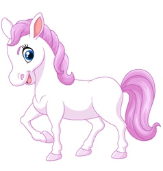 Cartoon happy pony horse isolated vector image